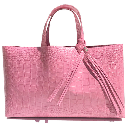 Large Pink Croc Leather Tote - Bags Made in USA