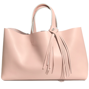 Large Pink Leather Tote 29 – Fringe Swarovski Design