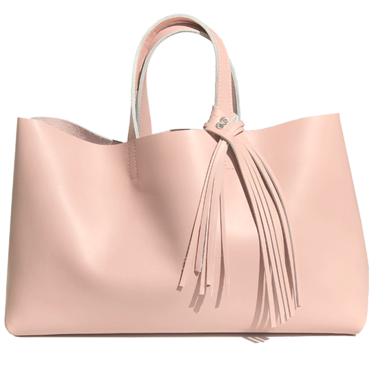 Large Pink Leather Tote - Bags Made in USA
