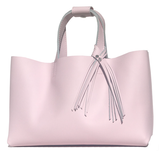 Bags Made in California - Large Pretty Pink Leather Tote 67 – 2 Swarovski Fringe Design