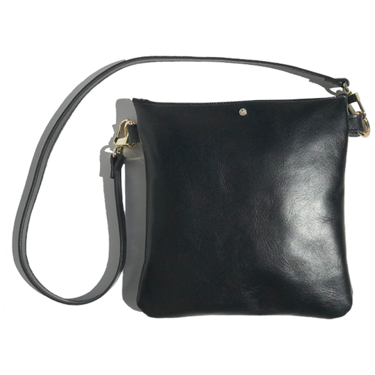 Monique Strap Bag 2 – Strap Bags Made in -California Soft Black Italian Leather Featuring 1 Swarovski