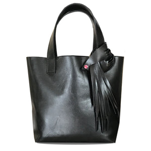 Black Italian Leather Tote 3 - Fringe Rose Swarovski Design