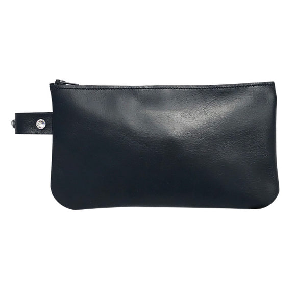 Monique Ring Pouch – Soft Black Leather Featuring Clear Swarovski