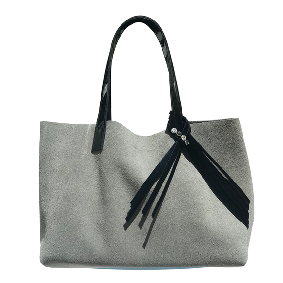 Bags Made in USA - Gray Suede Tote Bag 76 – 4 Swarovski Crystals