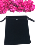 Black Velvet Jewelry Bag - Featuring Swarovski Crystal