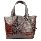 Small Croc Italian Premium Leather Shopper Tote Bag 80 - Crystal Design