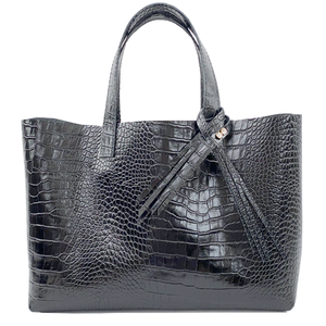 Large Croc Italian Leather Shopper Tote Bag 77 - Crystal Design