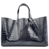 Large Croc Italian Premium Leather Shopper Tote Bag 78 - Crystal Design