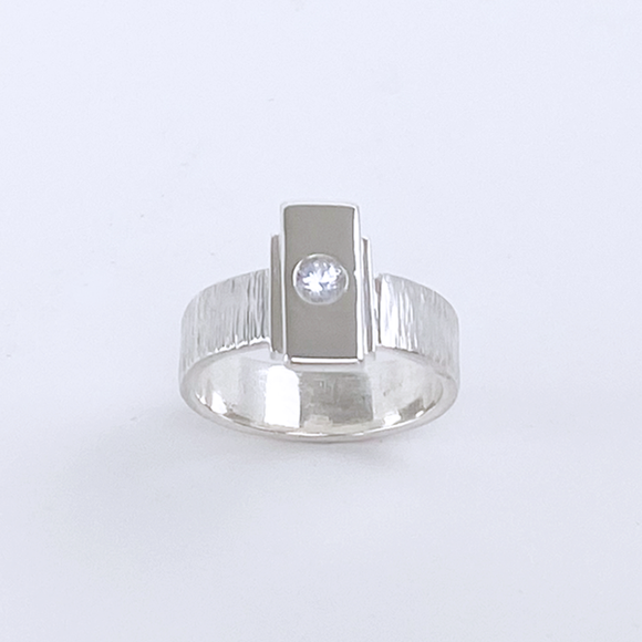 Sterling Silver White Sapphire Ring - Bride