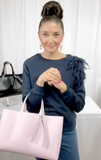 Lisa Ramos wearing - Pretty Pink Large Leather Tote 67 – 2 Swarovski Fringe Design