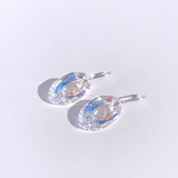 Sterling Oval Crystal Hoops Earrings