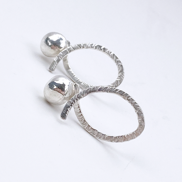 Modern Sterling Silver Hoop Earring Set - Earring Jackets with Studs (wear 3 ways)