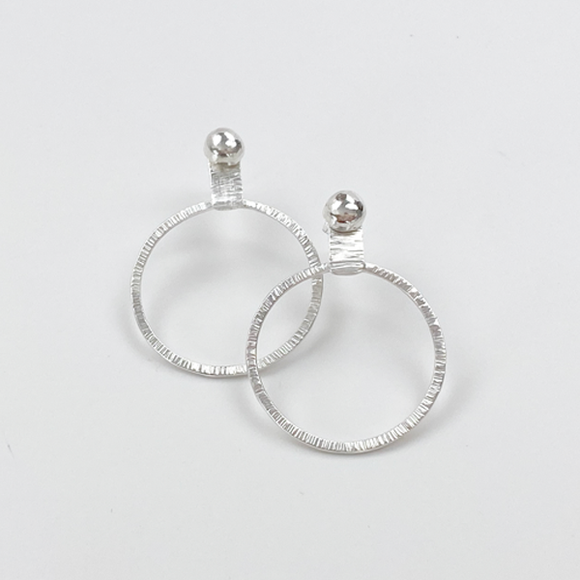 Sterling Silver Hoop Earrings - Earring Jacket with Studs (wear 2 ways)