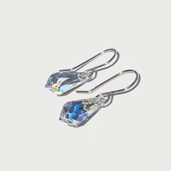 Teardrop Sterling Earrings - Iridescent Crystal