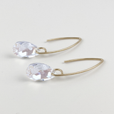 14k Gold Bent Hoop Earrings - Small Touches of Blue Crystals