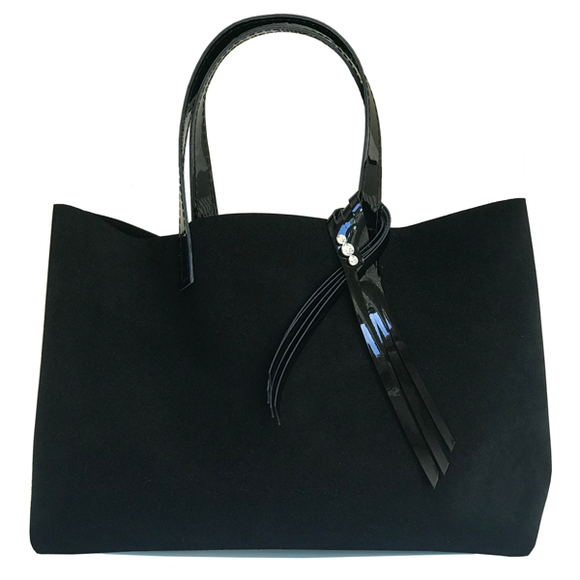 Large Satin Suede Leather Tote Bag 70 – Matching Pouch