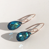 Rose Gold Royal Goddess Bent Hoop Earrings - Touch of Blue Crystal