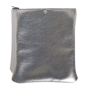 Soft Metallic Leather Pouch with Crystal