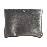 Metallic Leather Pouch Accessory with Crystal