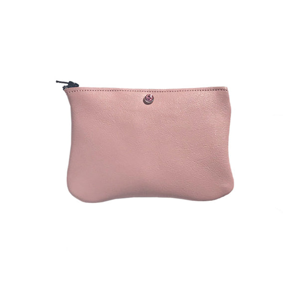 Monique Mini Pouch – Soft Pink Natural Leather Featuring Rose Crystal