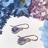 Teardrop Rose Gold Earrings - Iridescent Crystal