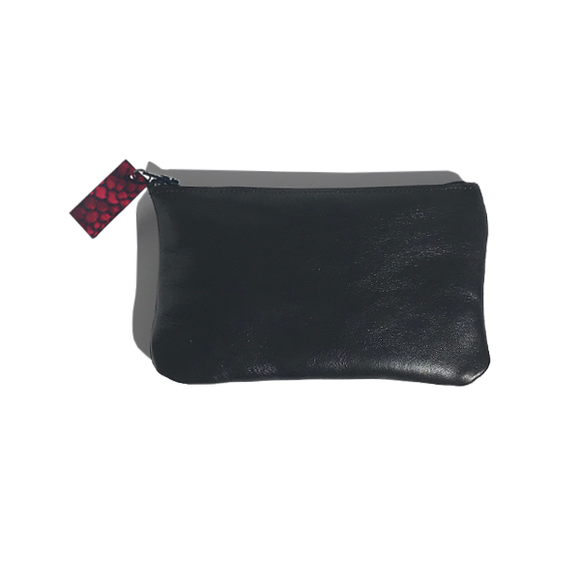 Monique Mini Pouch – Soft Black Leather Featuring Red Leather Zipper Pull - MONOLISA