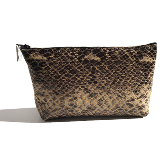 Monique Mini – Brown Patent Snake Bag & Clear Crystal