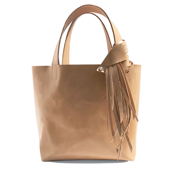Tan Italian Leather Tote 4 –Fringe Swarovski Design & Pouch