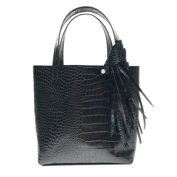 Croc Italian Leather Tote Bag 5 – Fringe Swarovski Design