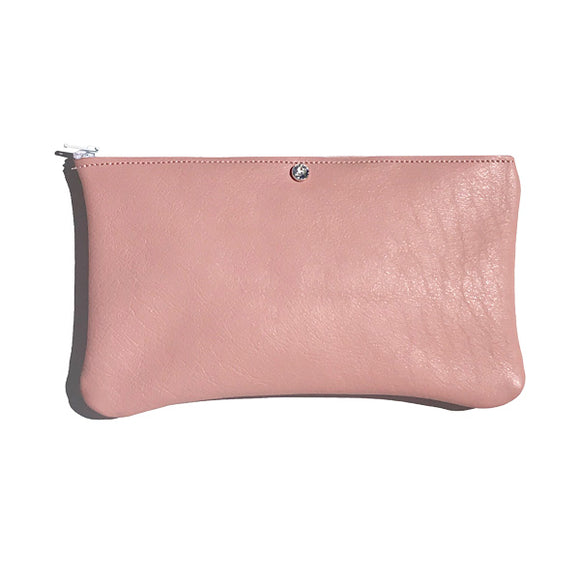 Monique Pouch – Soft Pink Natural Leather Featuring Clear Swarovski
