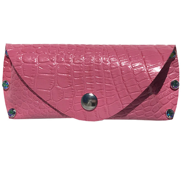 Leather Eye Glass Case - Pink Croc Featuring 6 Paradise Swarovski Crystals