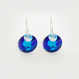 Blue and Iridescent Peacock Eye Theme Crystal Sterling Earrings