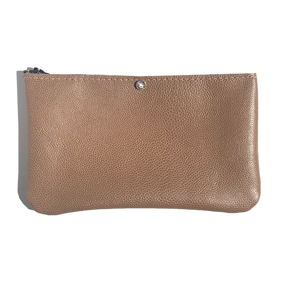 Pebble Leather Pouch - Clear Crystal