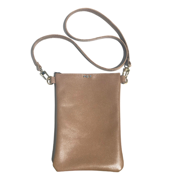 Tan Pebble Leather Tall Strap Bag 36 – Swarovski + Pouch Accessory