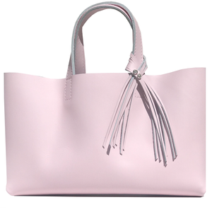 Large Pretty Pink Leather Tote 67 – 2 Crystal Fringe Design