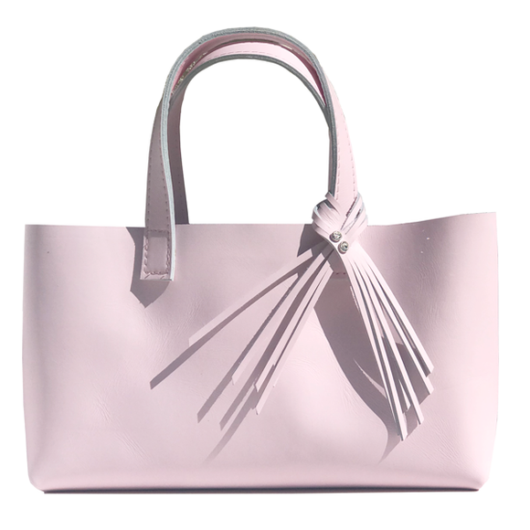 Long Pretty Pink Leather Tote 68 – 2 Swarovski Fringe Design