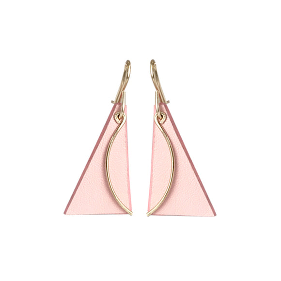 Leather Sculpted Earrings - Pink Double-Sided Lambskin with Brass