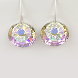 Pretty Bold Sterling Silver Earrings - Large Circular Crystals