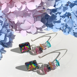 Versatile Rainbow Goddess Bent Hoop Sterling Earrings - Crystal Cluster