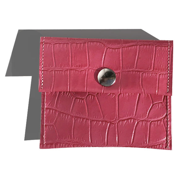 Rectangle Pouch – Pink Croc Leather with Pink Edge Paint