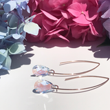 Bent Hoop Rose Gold filled Earrings - 16mm Light Blue