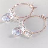Jewelry Made in California: Ultra Fancy Rose Gold Hoop Earrings -Blue Crystals