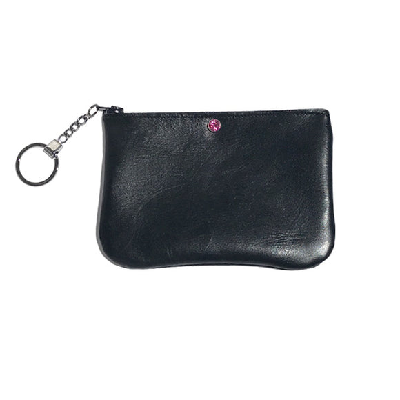 Monique Mini Key Chain Pouch – Soft Black Leather Featuring a Rose Crystal