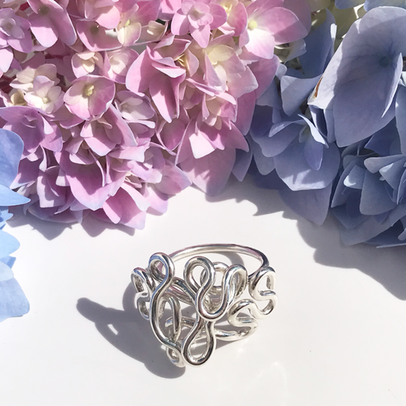 Hand Sculpted Thick Sterling Ring - Royal Goddess Large Cluster
