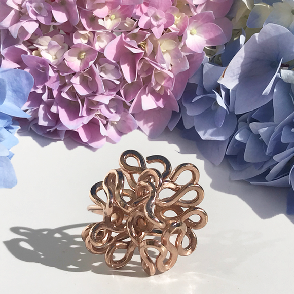 Hand Sculpted 14k Rose Gold - Ultra Goddess Flower