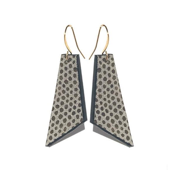 Golden Italian Edge Painted Forme Earrings - Print Silk Leather