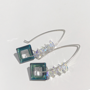 Versatile Sterling Dangle Sculpted Earrings -Square Cluster Crystals