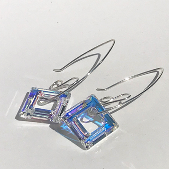 Sterling Silver Square Crystal Earrings