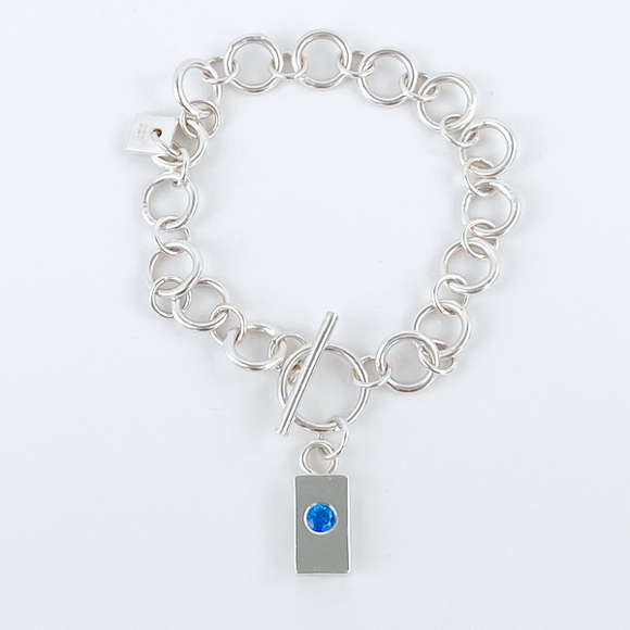Sterling Silver Chain Bracelet with Charm- Blue Topaz