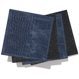 Leather Coaster Set of 6 in Black Sting Ray Pattern & Blue Croc